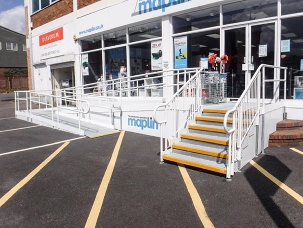 access ramp & steps for a retail shop